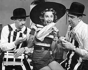 Bob and Ray - Bob, Audrey Meadows and Ray in a skit on the Bob and Ray show in 1951.