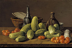 Luís Eugenio Meléndez: Still Life with Cucumbers Tomatoes and Vessels