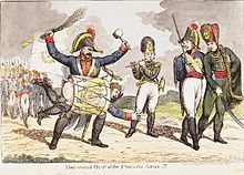 Satirical cartoon of depicting Napoleon being drummed out