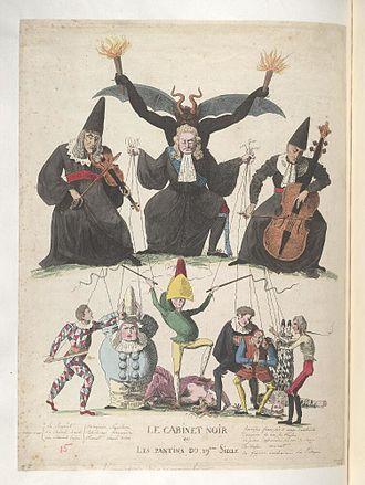 Cabinet noir - 1815 caricature of the cabinet noir, Bodleian Libraries.