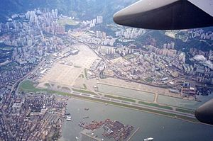 Kai Tak Airport - Kai Tak Airport in 1998, the morning after its closure