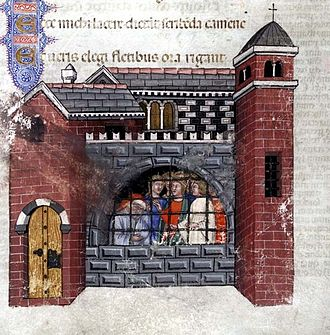 Boethius - Boethius imprisoned, from a 1385 manuscript of the Consolation.