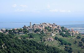 The village of Borgo overlooking the plain and part of the lake of Biguglia, and the lagoon of Marana