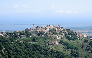 Borgo, Haute-Corse - The village of Borgo overlooking the plain and part of the lake of Biguglia, and the lagoon of Marana