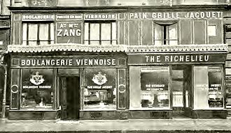 Croissant - The original Boulangerie Viennoise in 1909 (when it was owned by Philibert Jacquet). The bakery proper is at left and its tea salon at right.
