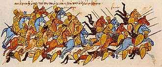 Battle of Boulgarophygon - The Bulgarians rout the Byzantine army at Boulgarophygon, miniature from the Madrid Skylitzes