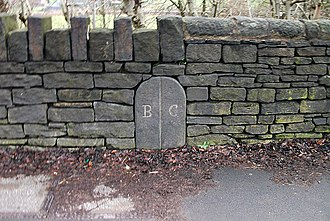 Butterworth (ancient township) - Image: Boundary marker between Butterworth and Crompton
