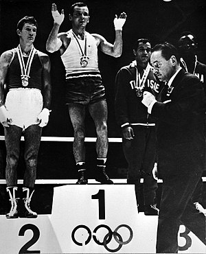 Yevgeny Frolov (boxer) - Frolov (left) at the 1964 Olympics