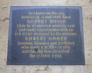 Shelley Memorial - The Boyle-Hooke plaque on the outside of the Shelley Memorial in the High Street, Oxford.