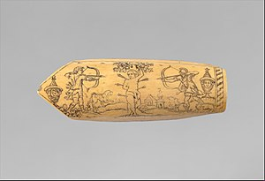 Bracer - A Dutch bracer from the late 16th century, made of ivory and intricately decorated