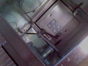 Fire damper - Interior of German mechanical fire damper inside of a galvanised steel duct.