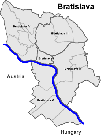 Boroughs and localities of Bratislava - Bratislava, with district borders in black and borough borders in grey