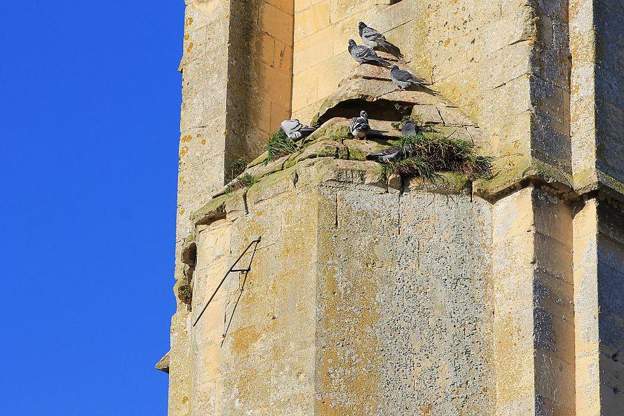 Vestige d'un cadran solaire sur le clocher de l'église Notre-Dame à Bretteville-sur-Odon (Calvados)