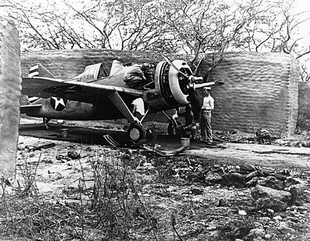 F2A-3, probably from VMF-212, at Marine Corps Air Station Ewa, Hawaii, 25 April 1942 Brewster F2A-3 Buffalo fighter g271041.jpg