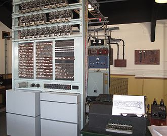 Lorenz cipher - A rebuilt British Tunny at The National Museum of Computing, Bletchley Park. It emulated the functions of the Lorenz SZ40/42, producing printed cleartext from ciphertext input.