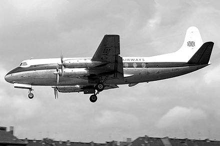 A British United Airways Vickers Viscount 700 seen landing at Berlin Tempelhof during 1962. British United Vickers 708 Viscount.jpg