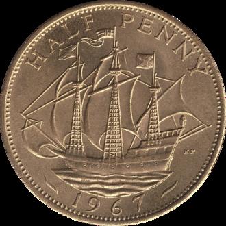 Halfpenny (British pre-decimal coin) - Image: British pre decimal halfpenny 1967 reverse