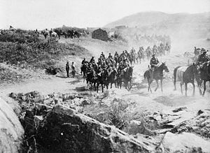 British yeomanry during the First World War - Yeomanry from the 7th Mounted Brigade in the Struma Valley Salonika Summer 1916.