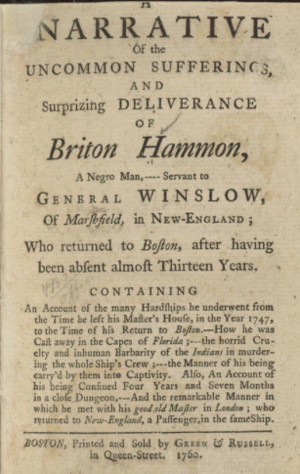 John Winslow (British Army officer) - Narrative of Winslow's former slave Briton Hammon
