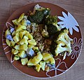 Broccoli with colorful potatoes and oyster mushroom.jpg