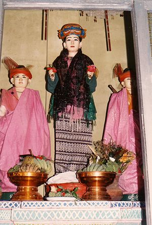 Burmese folk religion - Me Wunna with her sons Min Gyi and Min Lay at Mount Popa