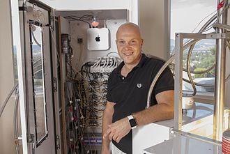 Bryan Davis (inventor) - Bryan Davis posing with an early Lost Spirits aging reactor.