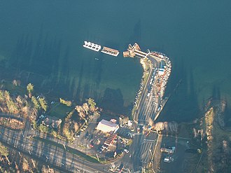 Buckley Bay, British Columbia - Aerial view of Denman Island Ferry terminal at Buckley Bay