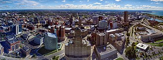 Architecture of Buffalo, New York - Aerial view of Buffalo's skyline. At center is the Robert H. Jackson United States Courthouse and the Art Deco Buffalo City Hall, with the Buffalo City Court Building to the right. On the far right is One Seneca Tower, formerly the HSBC Building.
