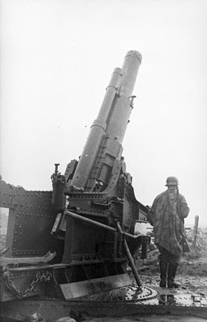 Skoda 220 mm howitzer - Skoda 220 mm howitzer in German coastal battery, 1943