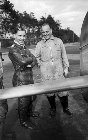 Jagdgeschwader 11 - Hauptmann Günther Specht (left) with Dr. Kurt Tank beside the tail of his aircraft in July 1944
