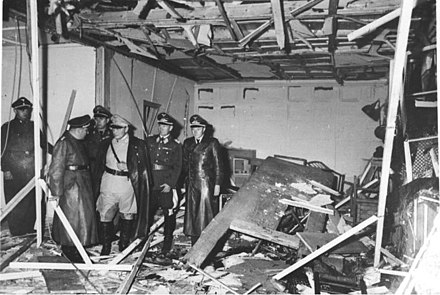 Reichsminister Hermann Goring surveys the destroyed conference room at the Wolfsschanze, July 1944. Bundesarchiv Bild 146-1972-025-10, Hitler-Attentat, 20. Juli 1944.jpg