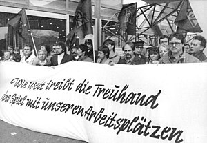 Treuhandanstalt - Steel workers protest in Berlin in front of the Treuhand, December 1990.