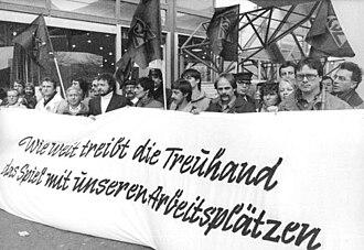 Treuhandanstalt - Steel workers protest in Berlin in front of the Treuhand, December 1990.