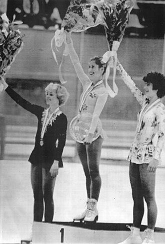 Denise Biellmann - Biellmann (center) in November 1980