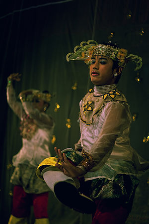 Burmese dance - Traditional dance performance at the Karaweik in Yangon