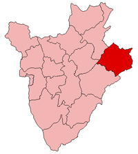 Location of Cankuzo Province in Burundi