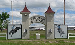 Entrance of Garfield County Frontier Fairgrounds, site of Nebraska's Big Rodeo.