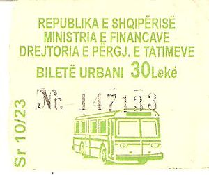 Bus lines in Tirana - A bus ticket, costing 30 Lek