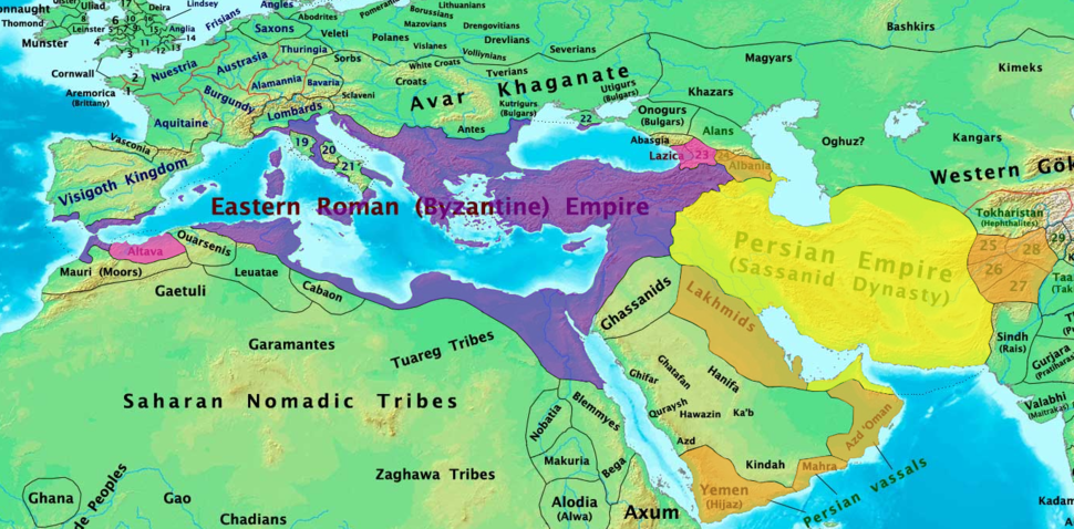 Byzantine and Sassanid Empires in 600 CE