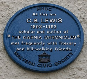 English: C.S. Lewis Plaque on the Unicorn Inn ...