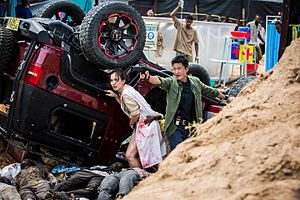 Wolf Warrior 2 - Wu Jing and Celina Jade on the set of Wolf Warrior 2