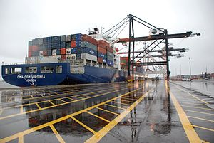 Port of Jacksonville - The CMA CGM Virginia at TraPac Container Terminal Dames Point Marine Terminal