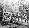 COLLECTIE TROPENMUSEUM Een groep Indische militairen rust uit bij het oversteken van een rivier TMnr 10001951.jpg