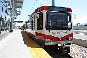 Calgary Transit - A C-train at Crowfoot station