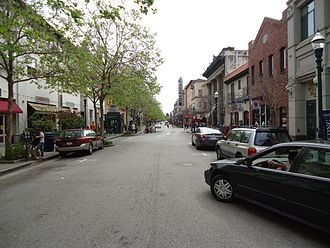 A main street with shops California Santa Cruz street with cars and shops.JPG