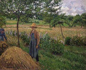Gardener Standing by a Haystack, Overcast Sky, Éragny
