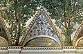 Camillo mantovano, volta della sala a fogliami di palazzo grimani, 1560-65 ca., lunette con grottesche e rebus allusivi al processo per eresia di giovanni grimani 12.jpg