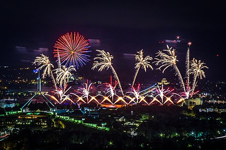 The annual Skyfire fireworks display over Lake Burley Griffin, held during the Enlighten Festival Canberra Skyfire 2017 (203911129).jpeg