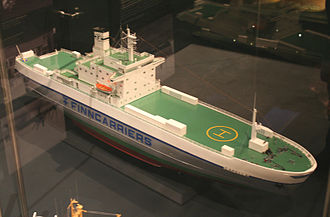 Finnlines - A model of Finncarriers' MS Capella av Stockholm, built 1972 as MS Hans Gutzeit. The model retains the original Finnlines colours, with the Finnlines text on the hull replaced by a Finncarriers text.