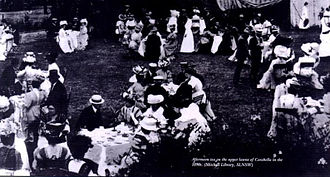 James Milson - Afternoon tea on the upper lawns of Carabella in the 1890s (Mitchell Library SLNSW)